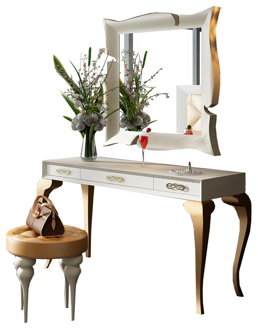 white and gold vanity table. T15 Bedroom Make up Vanity 55  White and Gold Glossy Finish contemporary Contemporary Makeup