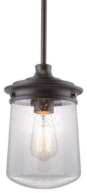 "Kira Home Mason 10.5"" Pendant Light, Seeded Glass Shade, Oil-Rubbed Bronze."
