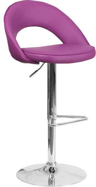 Contemporary Purple Vinyl Rounded Back Adjustable Barstool With