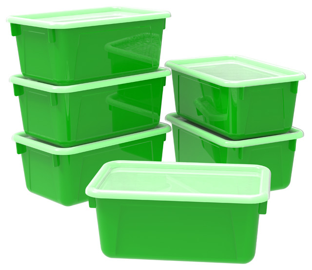 Small Cubby Bin, With Cover, Classroom Green (case Of 5).