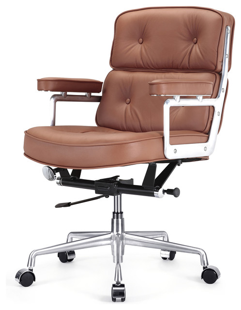 Padded Modern Office Chair Black Italian Leather