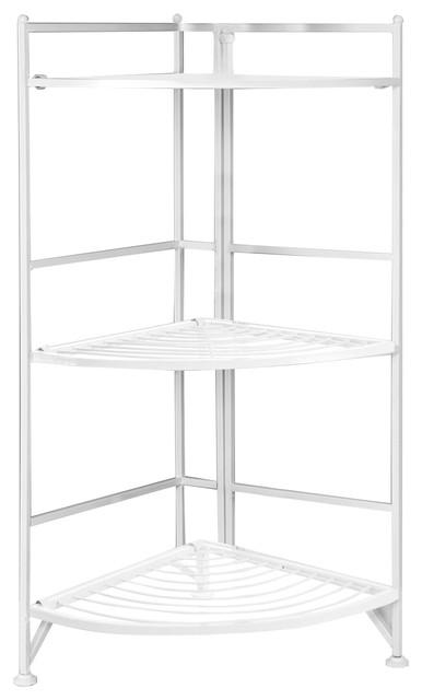 3 Tier Folding Metal Corner Shelf White