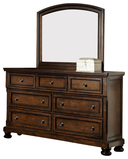 Homelegance Cumberland 7-Drawer Dresser With Mirror In Medium Brown.