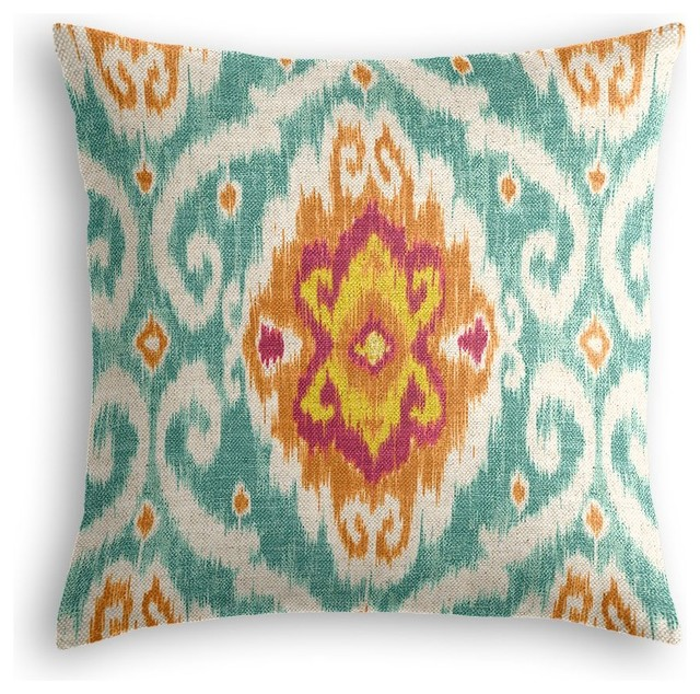 Red and Blue Ikat Medallion Throw Pillow - Mediterranean - Decorative Pillows - by Loom Decor