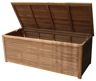 Teak Storage Pool Box - Contemporary - Deck Boxes And ...