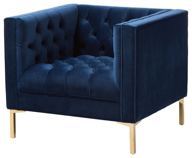Zanetta Luxe and Glamour Navy Velvet Upholstered Gold Finished Lounge Chair