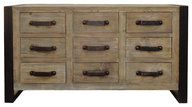 Captivating Simple Rough Raw Wood Dresser Cabinet With Iron Hardware