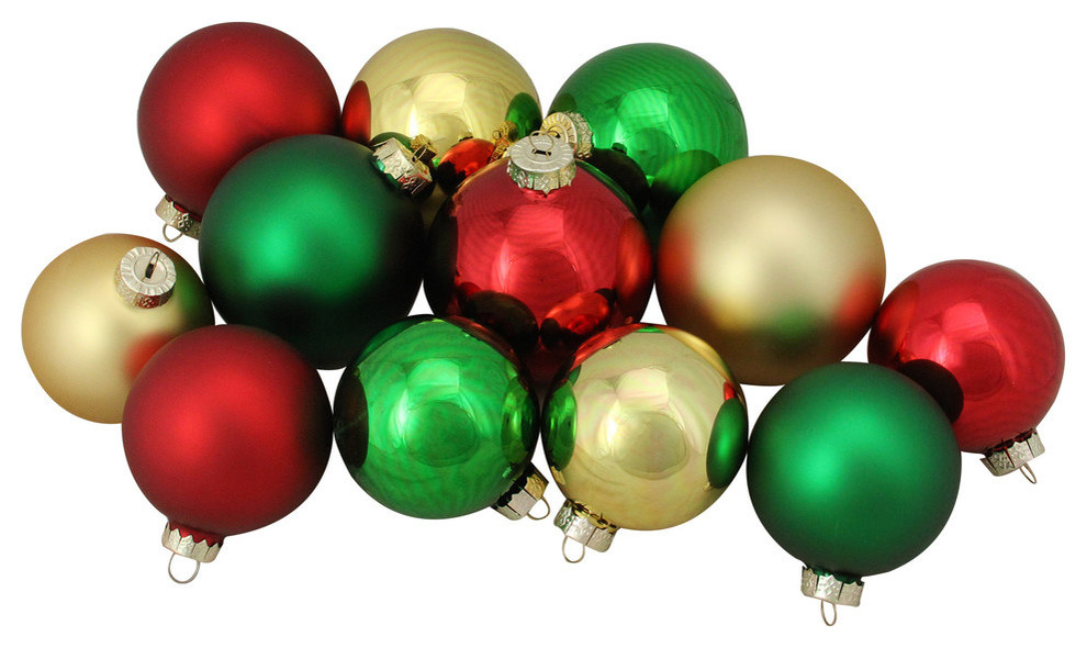 72ct Red Green Gold Shiny And Matte Glass Ball Christmas Ornaments 3 25 4 Christmas Ornaments By Northlight Seasonal Houzz