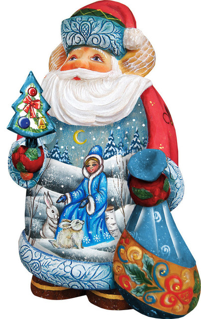 Hand Painted Snow Maiden Scene Santa Figurine Traditional Holiday Accents And Figurines By G Debrekht