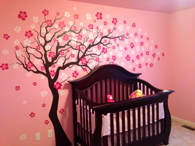 Cherry Blossom Tree, Wall Decal, White/Hot Pink Modern Wall Decals