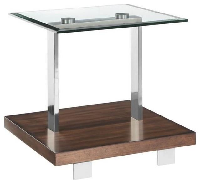 Magnussen Modern Loft End Table In Brushed Nickel