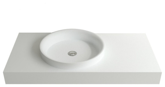 Badeloft Stone Resin Wall-Mounted Sink, Glossy.