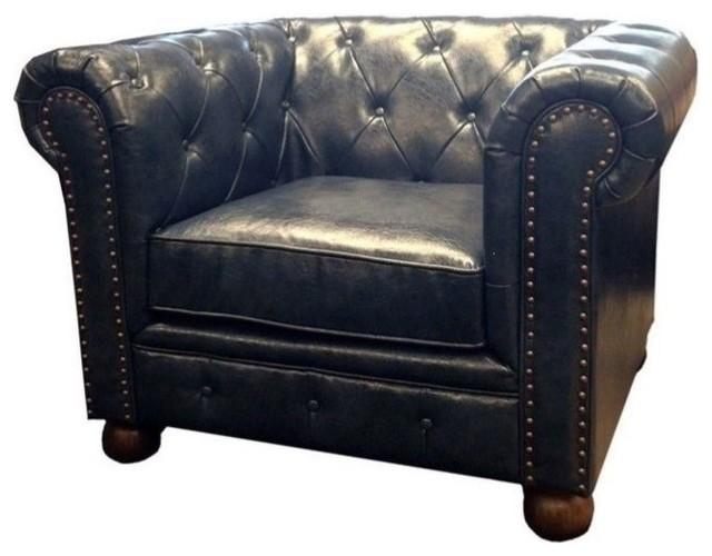 Superb Armen Living Winston Vintage Leather Sofa Chair In Blue Inzonedesignstudio Interior Chair Design Inzonedesignstudiocom