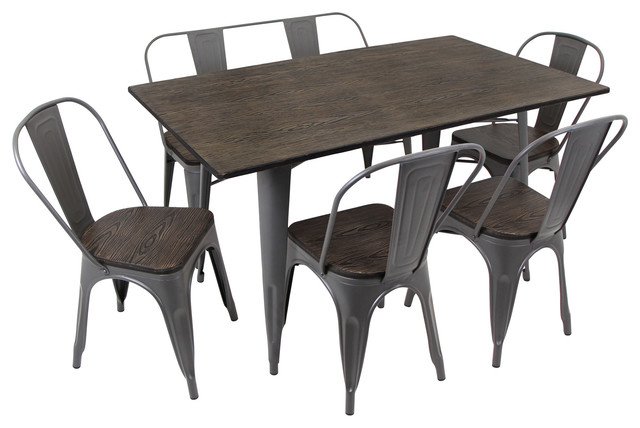Oregon 6 Piece Dining Set, Antique And Espresso Industrial Dining Sets