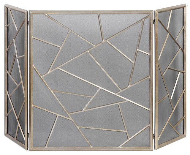 Midcentury Abstract Silver Panels Fireplace Screen, Geometric Champagne Mesh.