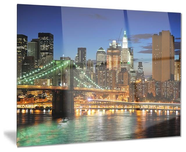"""big Apple After Sunset"" Cityscape Photo Glossy Metal Wall Art, 40""x30""."