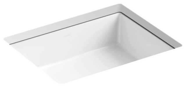 Kohler Verticyl Rectangular Under-Mount Bathroom Sink, White.