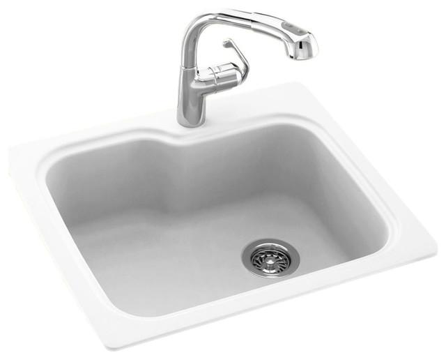 Swan 25x22x9 Solid Surface Kitchen Sink, 1-Hole, White.