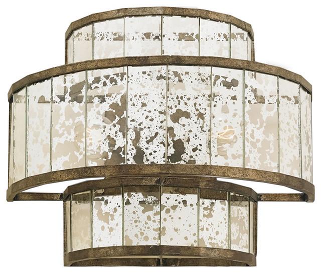Mirrored Wall Sconce currey & company fantine pyrite bronze raj mirror wall sconce 5193