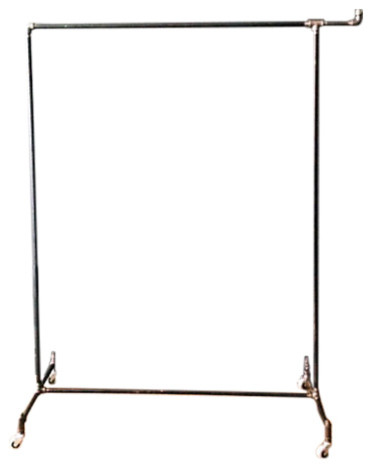 "Industrial Pipe Rolling Clothing Rack With Hook, .75"" Pipe."
