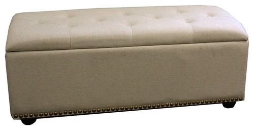 18H Beige Storage Bench With  3 Seating