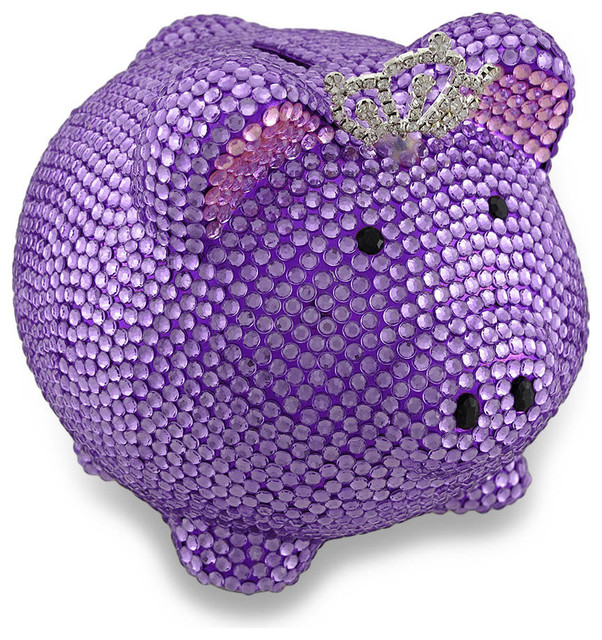Purple princess pig bling bank razzle dazzle rhinestone piggy bank traditional piggy banks - Rhinestone piggy bank ...