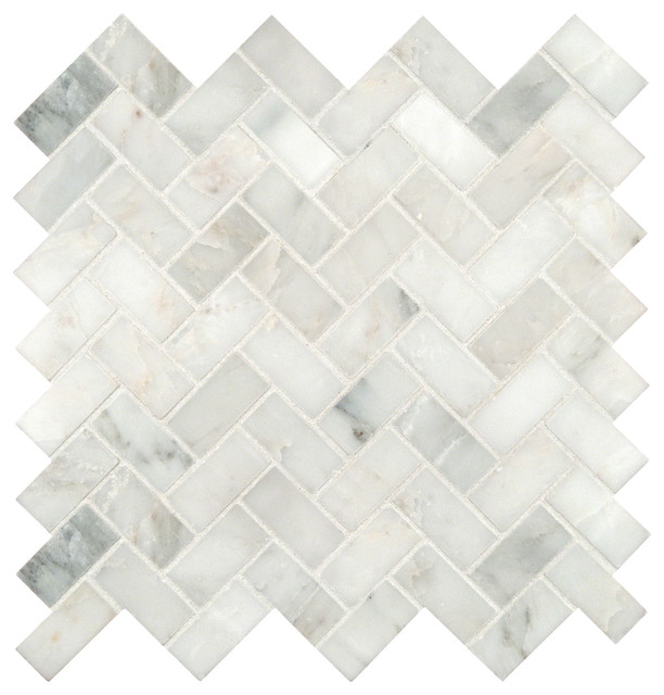 Grayish White Herringbone Pattern Honed Marble Mesh Mounted Mosaic Tile Sample
