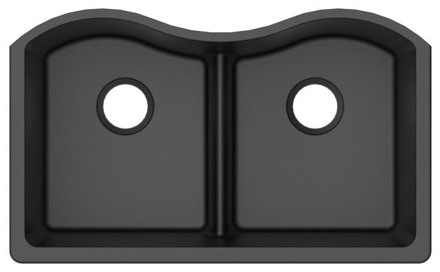 Undermount Kitchen Sink, Low Divide Double Bowl, Granite Quartz, Black, 33\