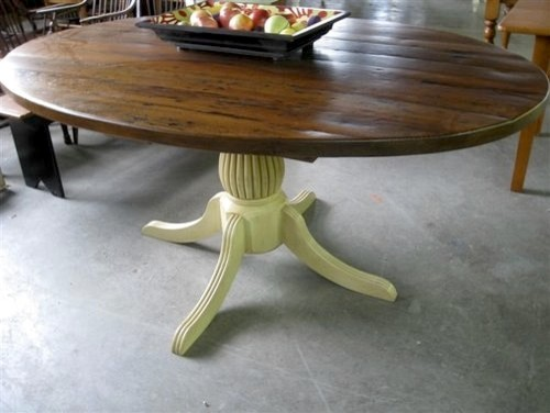 Rustic oval kitchen table with fluted pedestal for Fluted pedestal base