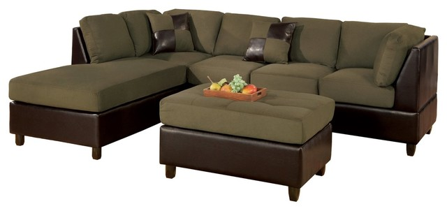 3 Seat Sofa Reversible Sectional Chaise Ottoman Pillows