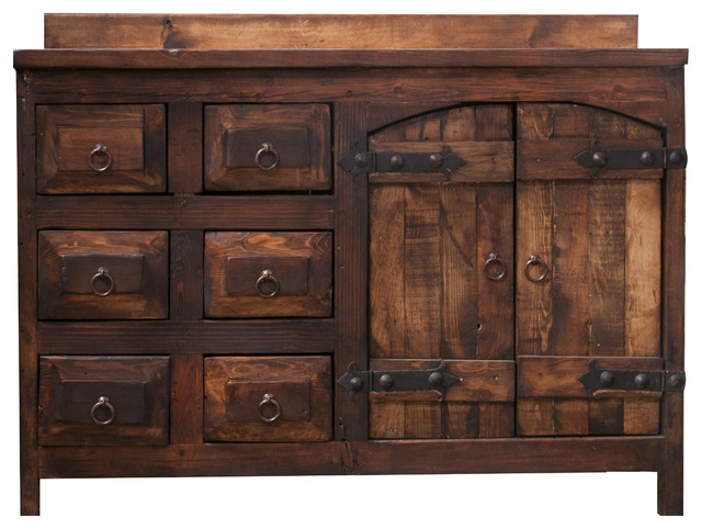 Old World Rustic Vanity, Right Sink, ...
