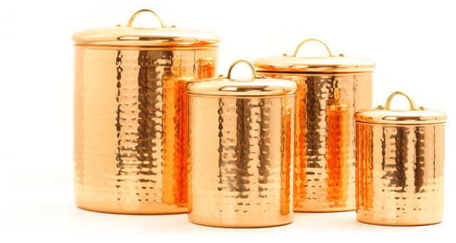 4 Piece Hammered Copper Canister Set Traditional Kitchen Canisters And Jars