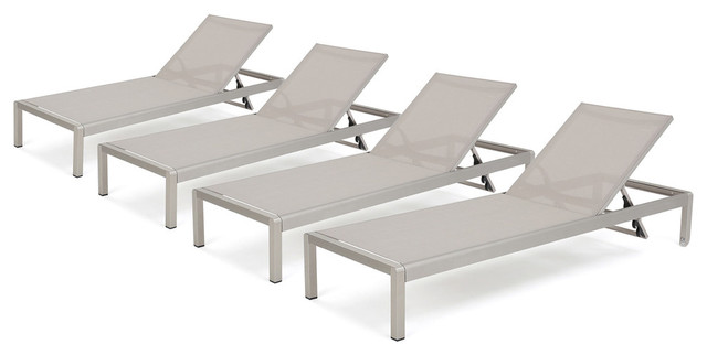 Coral Bay Outdoor Mesh Chaise Lounge, Set of 4