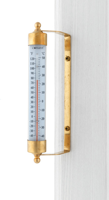 indoor outdoor thermometer living finish brass traditional decorative thermometers by. Black Bedroom Furniture Sets. Home Design Ideas
