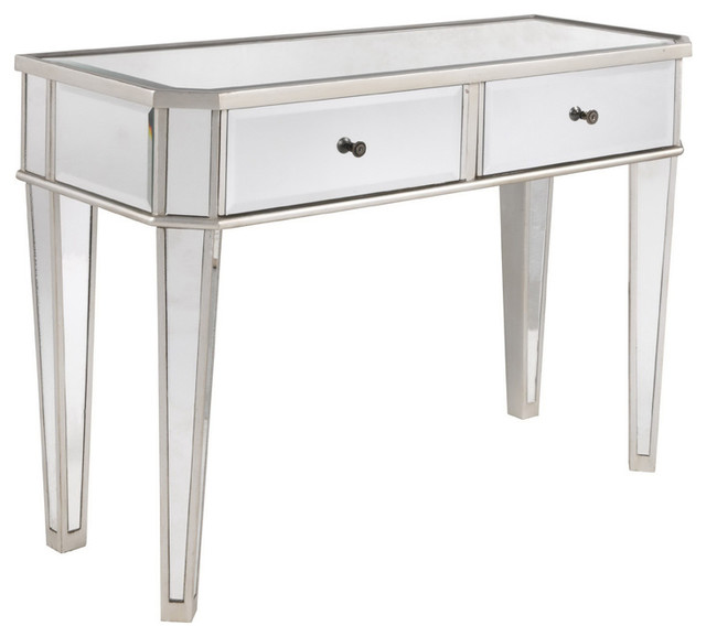 Powell Mirrored Console With Silver Wood
