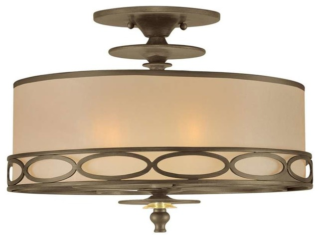 Crystorama Eclipse Light Gold Semi Sheer Shade Antique Brass