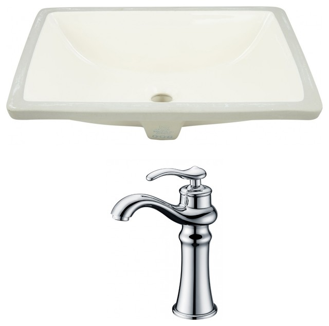 "Rectangle Undermount Sink Set, Chrome Hardware With Cupc Faucet, 20.75""."
