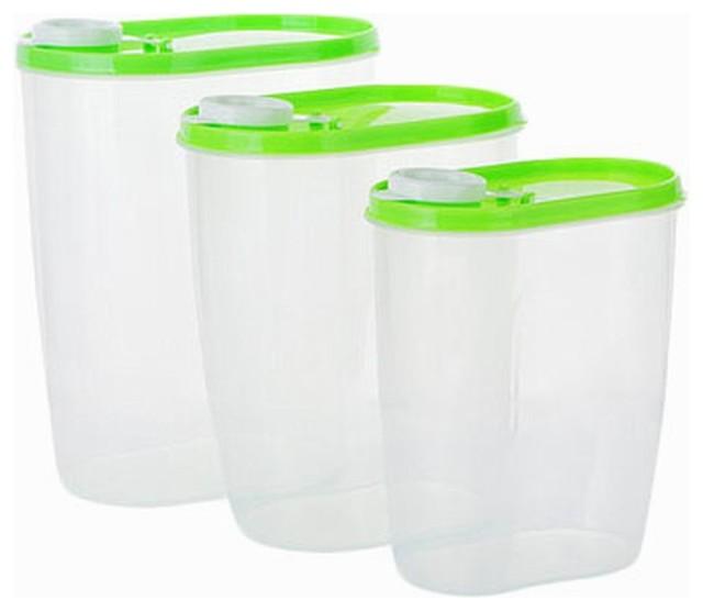 3PCS Kitchen Storage Bins Cereals, Snacks Useful Storage Canisters, Green