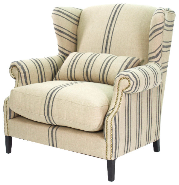 Napoleon French Fog Linen Blue Stripe Wingback Accent Armchair
