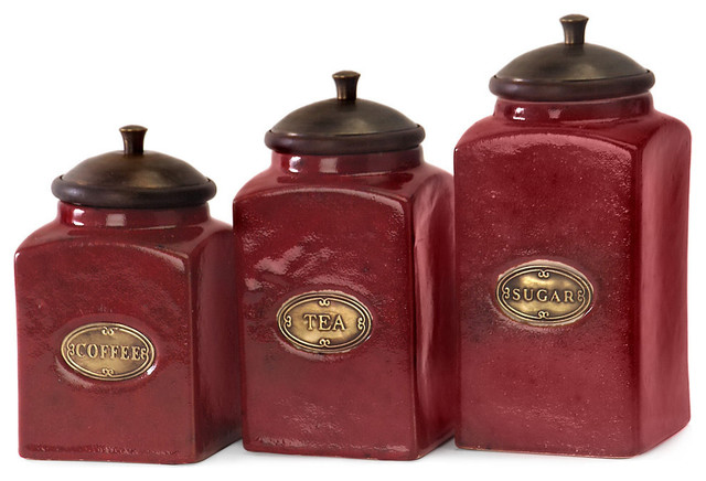 Red Ceramic Canisters, 3-Piece Set.