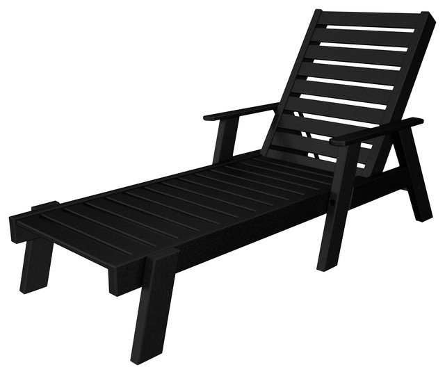 Captain Chaise Lounge W/ Arms, Black