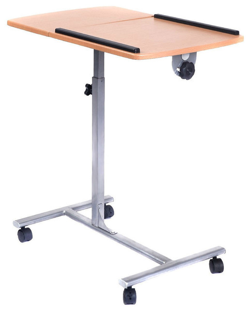 Adjustable Height Tablet Laptop Desk TV Tray Table Mobile Swivel Cart  Contemporary Office Carts