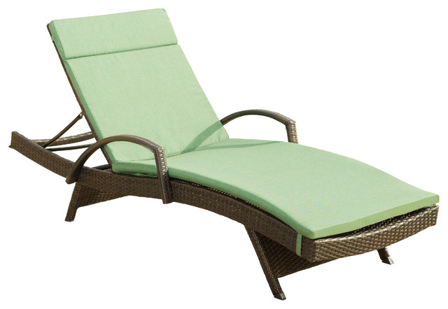 Olivia outdoor brown wicker armed chaise lounge chair with for Brown chaise lounge outdoor