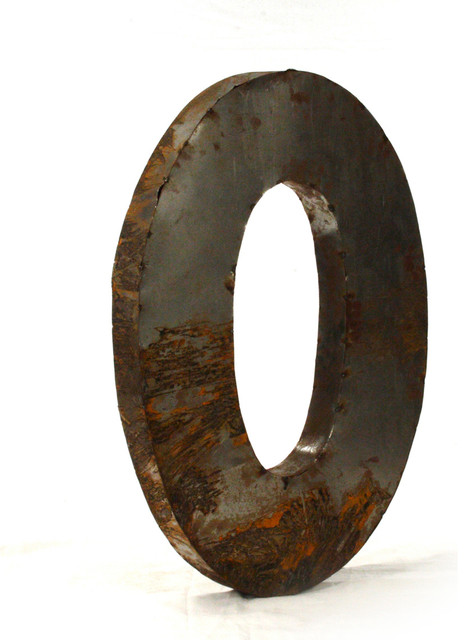 "Large Metal Wall Letters industrial rustic metal small letter o 18"" - industrial - wall"