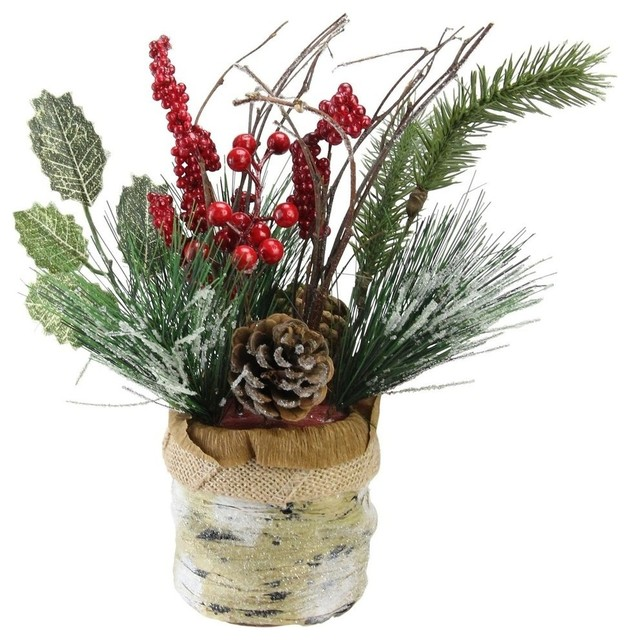 "12"" Iced Pine Cones Sprigs And Berries In A Burlap Basket Christmas Decoration."