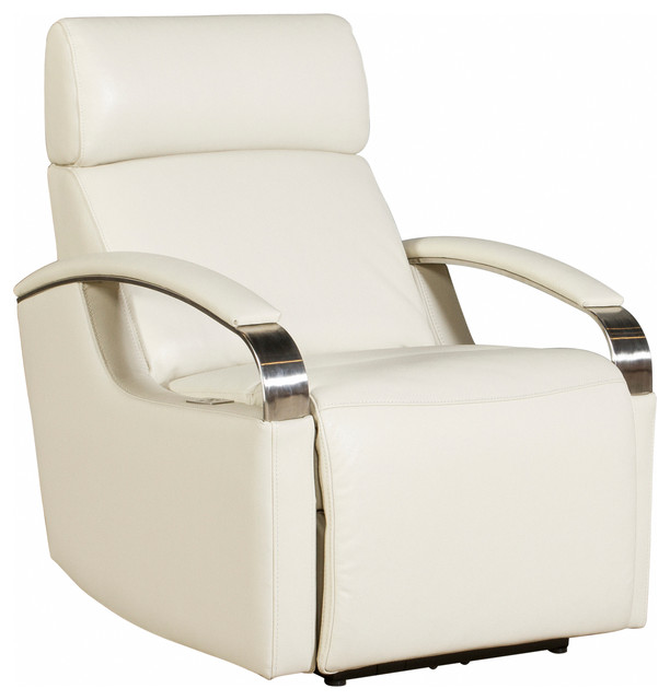 Cosmo Power Recliner With Power Head Rest, Cashmere White Leather