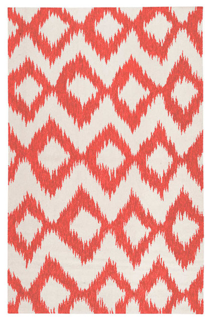 Roscoe Area Rug Coral Ikat Asian Area Rugs