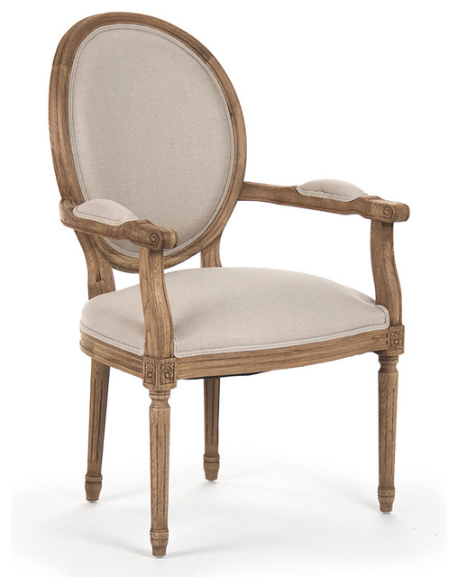 Madeleine French Country Louis XVI Linen Oval Dining Arm Chair  Traditional Dining Chairs