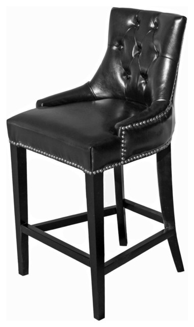 Tufted Leather Stool Black Bar Height transitional-bar-stools-and-  sc 1 st  Houzz & Tufted Leather Stool - Transitional - Bar Stools And Counter ... islam-shia.org