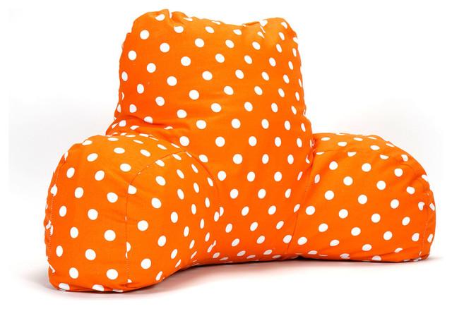 Indoor Tangerine Small Polka Dot Reading Pillow